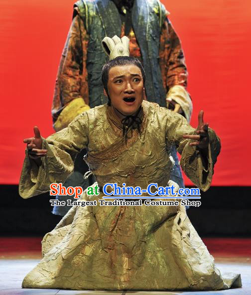 Chinese Traditional Qin Dynasty Noble Childe Clothing Stage Performance Historical Drama Fu Sheng Apparels Costumes Ancient Prince Garment and Headwear