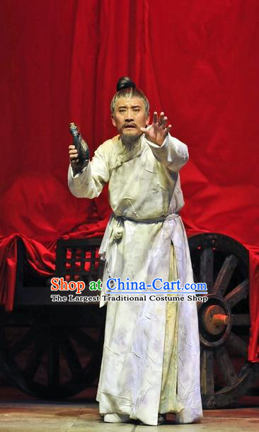 Chinese Traditional Qin Dynasty Elderly Scholar Clothing Stage Performance Historical Drama Fu Sheng Apparels Costumes Ancient Academic Garment and Headwear