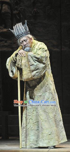 Chinese Traditional Qin Dynasty Elderly Male Clothing Stage Performance Historical Drama Fu Sheng Apparels Costumes Ancient Scholar Garment and Headwear