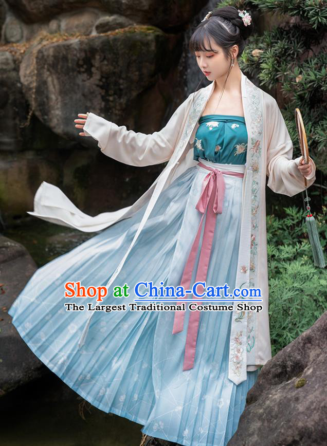 Chinese Traditional Song Dynasty Village Girl Hanfu Apparels Ancient Civilian Lady Embroidered Long BeiZi and Skirt Historical Costumes Complete Set