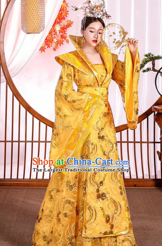 Chinese Ancient Drama Royal Princess Yellow Hanfu Dress Apparels Traditional Tang Dynasty Noble Infanta Historical Costumes for Women