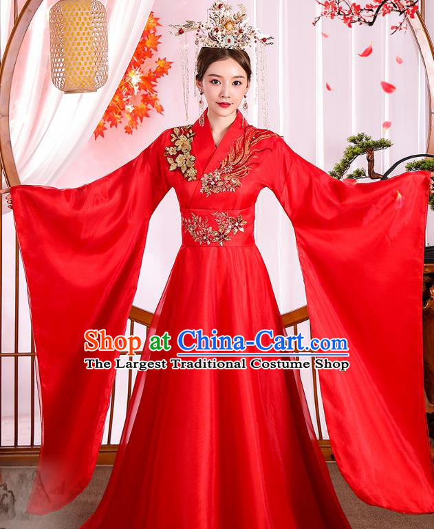 Chinese Ancient Drama Imperial Consort Red Hanfu Dress Apparels Traditional Tang Dynasty Noble Woman Historical Costumes Complete Set