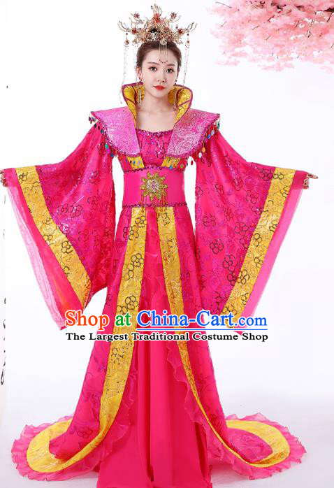 Chinese Ancient Imperial Consort Rosy Hanfu Dress Apparels Traditional Drama Tang Dynasty Court Woman Historical Costumes Complete Set