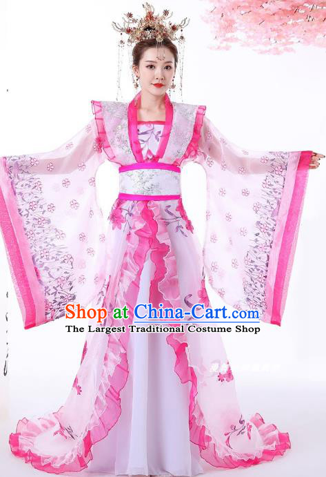 Chinese Ancient Palace Lady Hanfu Dress Apparels Traditional Drama Tang Dynasty Royal Princess Historical Costumes Complete Set