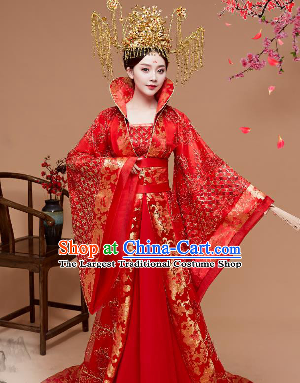 Chinese Ancient Palace Queen Red Hanfu Dress Apparels Traditional Drama Tang Dynasty Court Empress Historical Costumes for Women