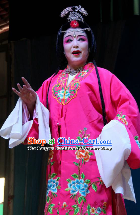Chinese Sichuan Highlights Opera Pantaloon Garment Costumes and Headdress Legend of Liu Yuniang Traditional Peking Opera Dame Dress Noble Female Apparels