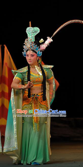 Chinese Sichuan Highlights Opera Princess Tie Shan Garment Costumes and Headdress The Mountain of Fire Traditional Peking Opera Young Female Dress Hua Tan Apparels