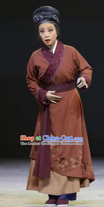 Chinese Sichuan Highlights Opera Elderly Female Garment Costumes and Headdress Luo Xiahong Traditional Peking Opera Pantaloon Dress Dame Apparels