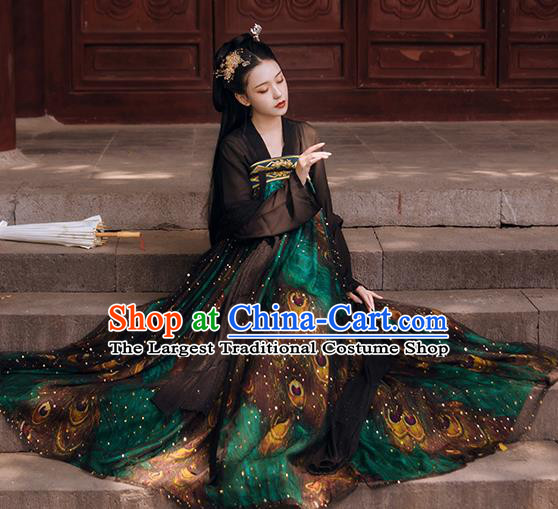 Traditional Chinese Tang Dynasty Palace Lady Historical Costumes Ancient Apparels Royal Princess Green Hanfu Dress