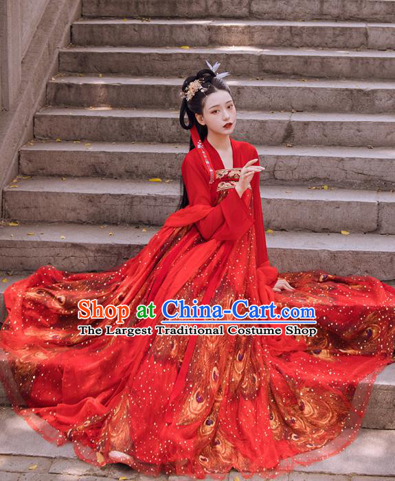Traditional Chinese Tang Dynasty Wedding Historical Costumes Ancient Apparels Court Princess Red Hanfu Dress for Women