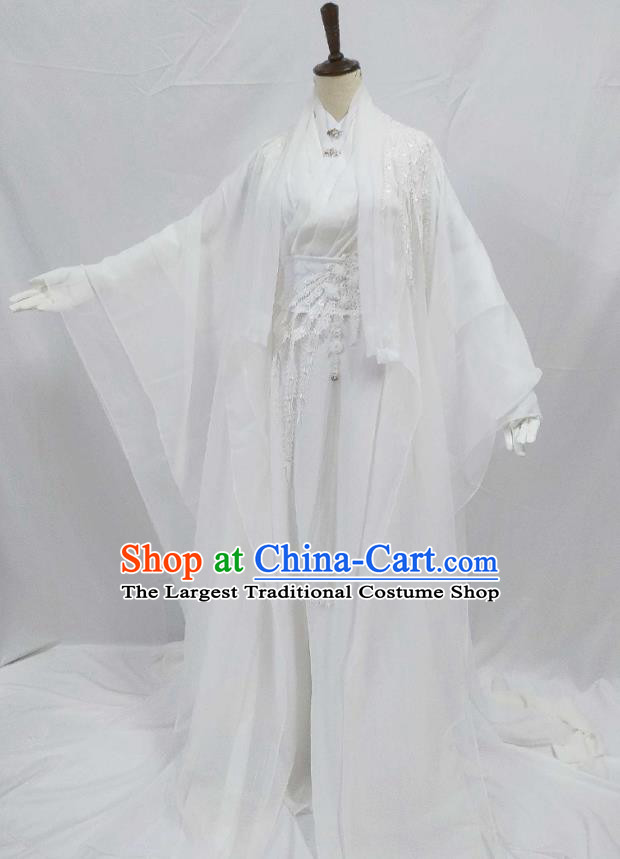 Top Chinese Cosplay Noble Childe Costume Ancient Swordsman Prince White Clothing for Men