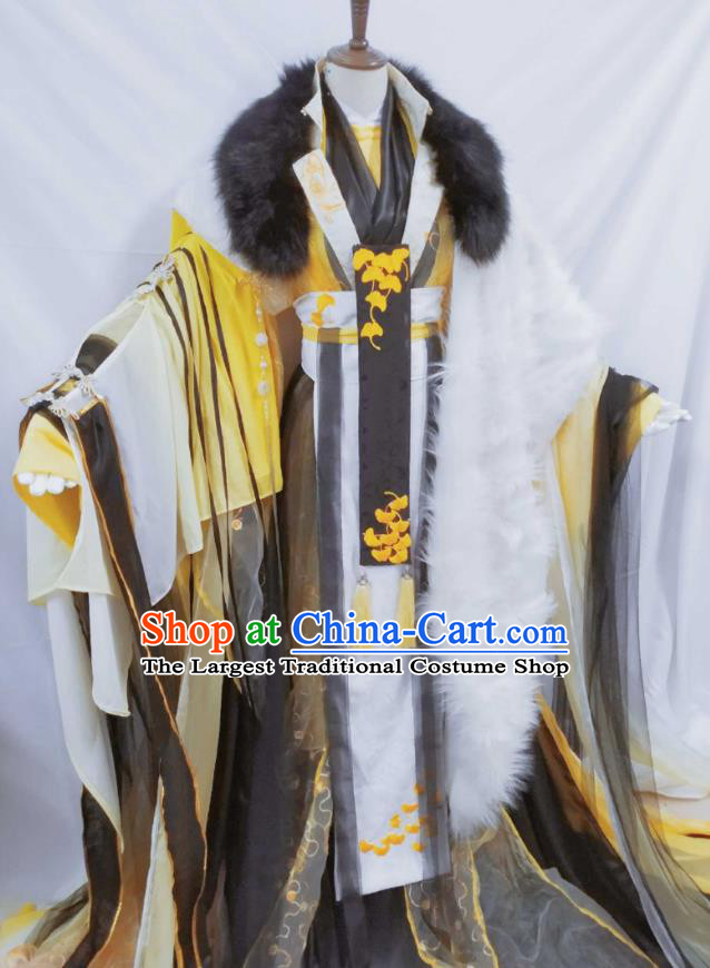 Top Chinese Cosplay Royal King Costume Ancient Swordsman Emperor Yellow Clothing for Men