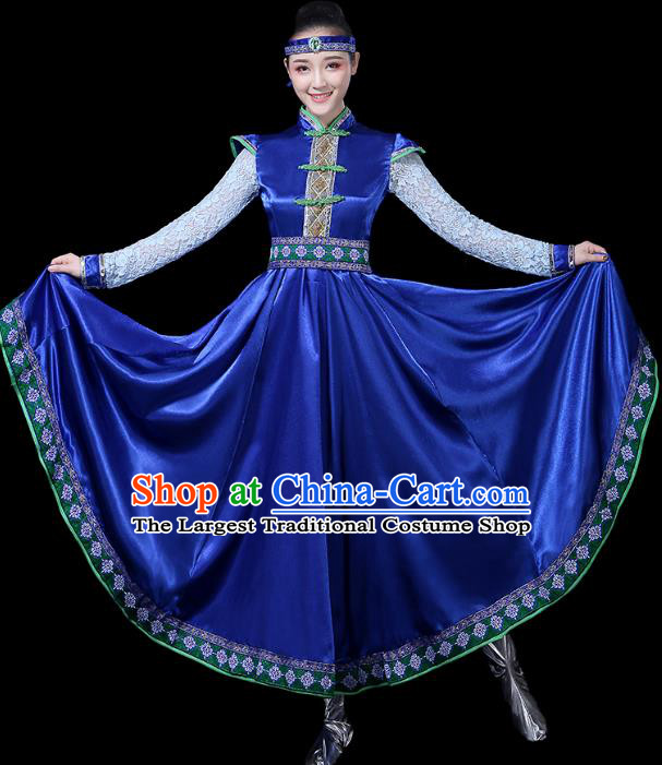 Chinese Traditional Mongolian Ethnic Dance Costumes Folk Dance Apparels Mongol Minority Dance Blue Dress for Women