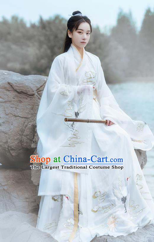 Chinese Ancient Jin Dynasty Noble Childe Hanfu Garment Swordsman Embroidered White Cloak Blouse and Skirt Historical Costumes for Men