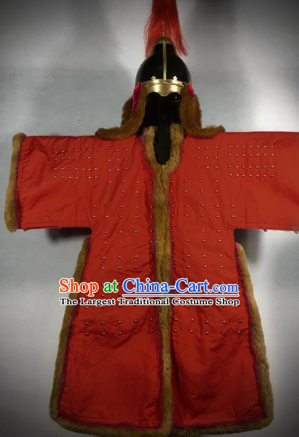 Traditional Korean Ming Dynasty General Red Body Armor and Helmet Ancient Warrior Costumes for Men