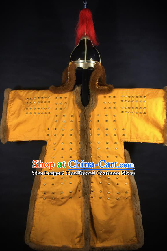 Traditional Korean Ming Dynasty General Yellow Body Armor and Helmet Ancient Warrior Costumes for Men