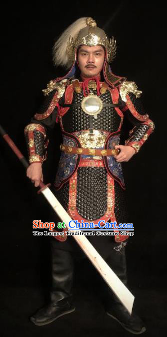 Traditional Chinese Han Dynasty General Black Leather Body Armor Ancient Warrior Military Officer Costumes and Helmet for Men