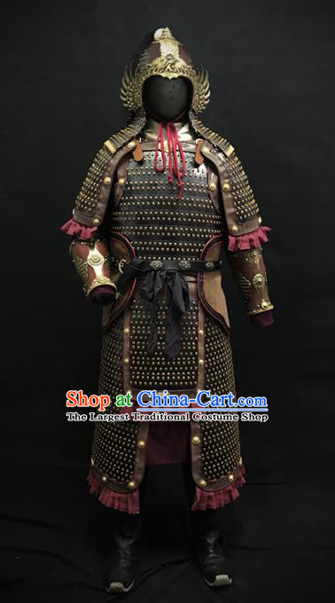 Traditional Chinese Song Dynasty General Iron Leather Body Armor Ancient Warrior Military Officer Costumes and Helmet for Men