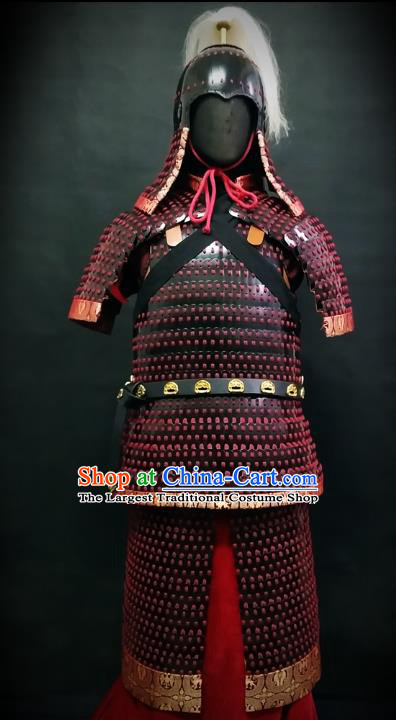 Traditional Chinese Tang Dynasty General Body Armor Ancient Cavalry Warrior Costumes and Helmet Full Set
