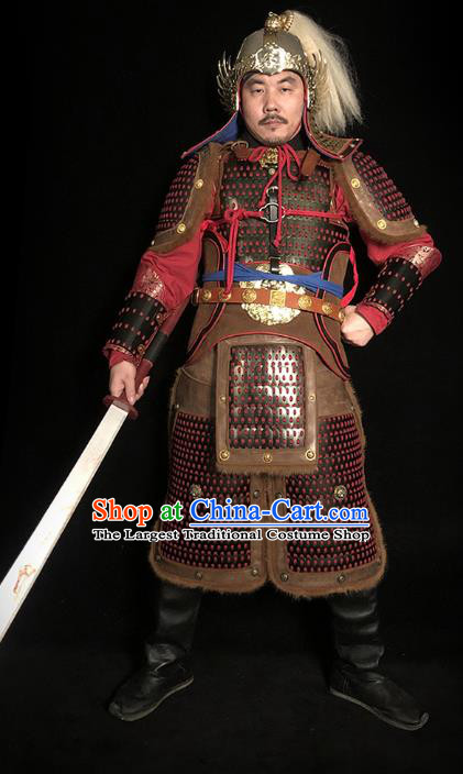 Traditional Chinese Song Dynasty General Body Armor Ancient Cavalry Warrior Costumes and Helmet Full Set