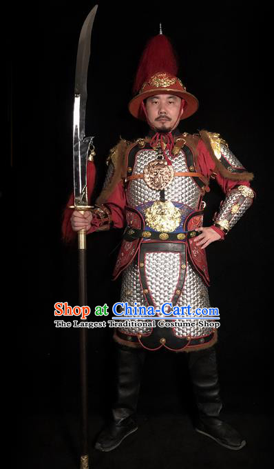 Traditional Chinese Song Dynasty General Argent Body Armor Ancient Cavalry Warrior Costumes and Helmet Full Set