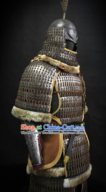 Traditional Chinese Song Dynasty Liao State Military Officer Golden Body Armor Ancient Cavalry Warrior General Iron Costumes and Helmet Full Set