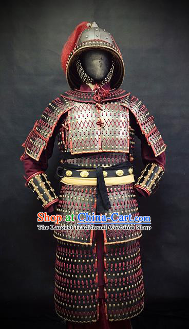 Traditional Chinese Song Dynasty Warrior Body Armor Ancient Infantry General Iron Costumes and Helmet Full Set