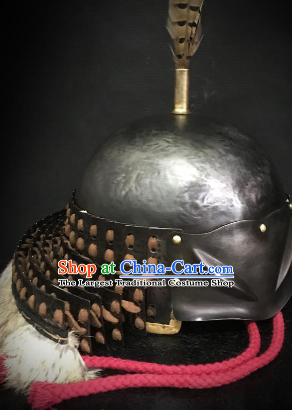 Traditional Chinese Song Dynasty Jin State General Iron Armet Hat Headpiece Ancient Military Officer Cavalry Helmet for Men