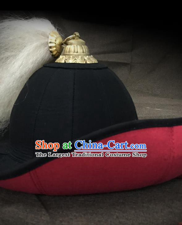 Traditional Chinese Song Dynasty Swordsman Black Flax Hat Headpiece Ancient General Helmet for Men