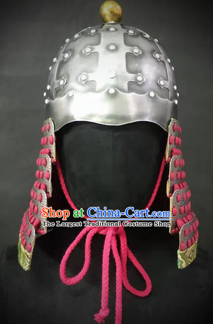 Traditional Chinese Tang Dynasty General Armor Hat Headpiece Ancient Soldier Warrior Iron Helmet for Men