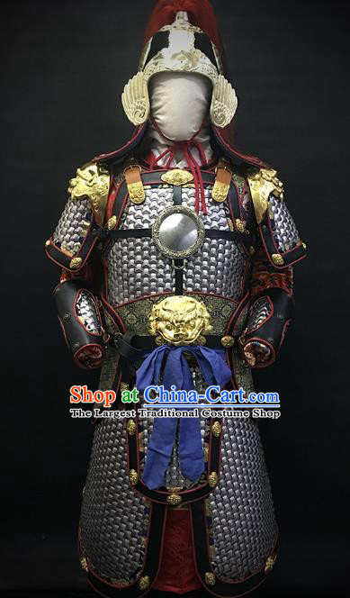 Traditional Chinese Ming Dynasty Military Officer Body Armor Outfits Ancient Film General Iron Costumes and Helmet Full Set
