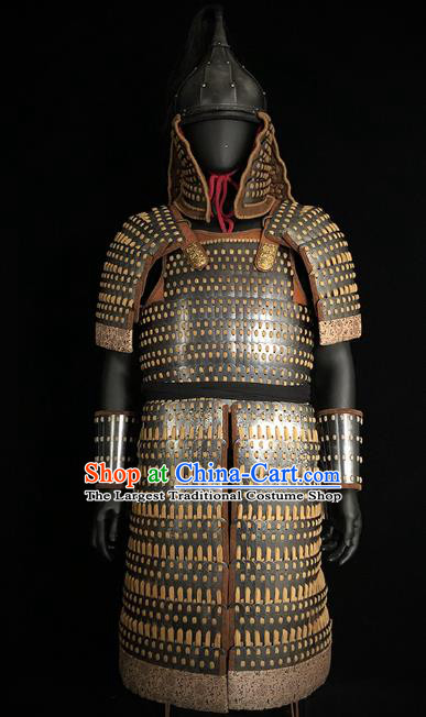 Traditional Chinese Yuan Dynasty Military Officer Body Armor Outfits Ancient Film General Iron Costumes and Helmet Full Set