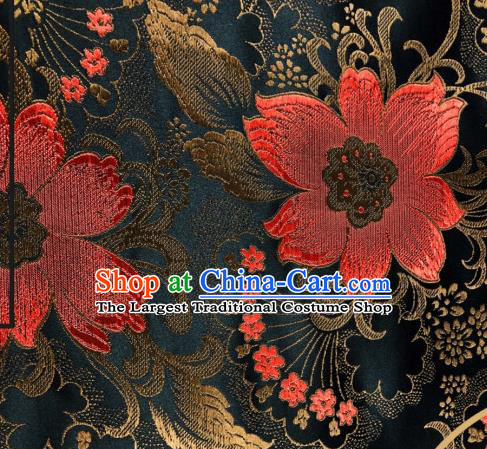 Asian Chinese Traditional Flowers Pattern Design Black Brocade Silk Fabric Cheongsam Tapestry Satin Material DIY Damask