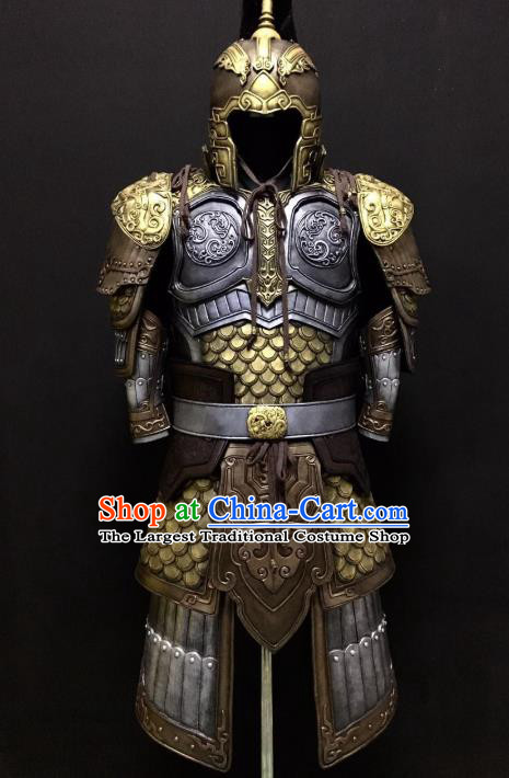 Traditional Chinese Han Dynasty Military Officer Body Armor Outfits Ancient Film General Armour Costumes and Helmet Full Set