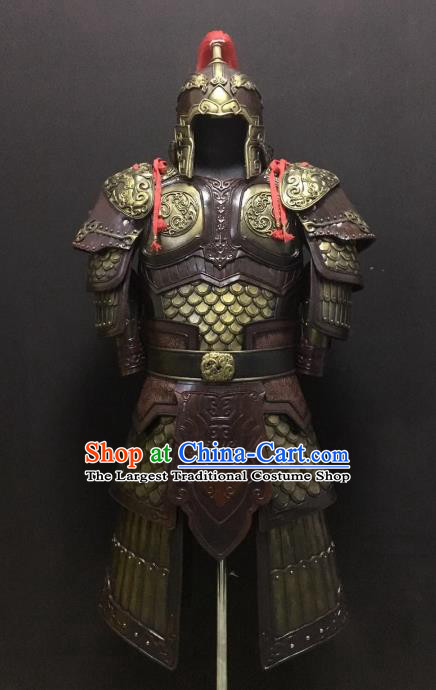 Traditional Chinese Han Dynasty Leather Body Armor Outfits Ancient Film Military Officer General Armour Costumes and Helmet for Men