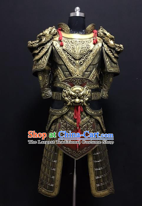 Traditional Chinese Han Dynasty Body Armor Outfits Ancient Film Military Officer General Armour Costumes for Men