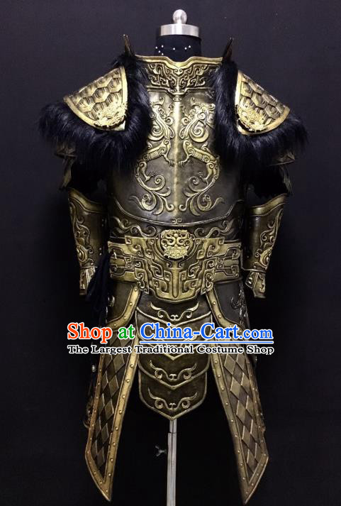 Traditional Chinese Han Dynasty General Body Armor Outfits Ancient Film Military Officer Fur Armour Costumes for Men