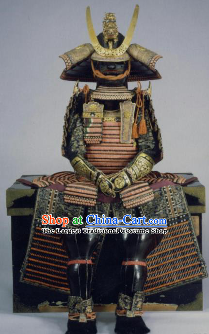 Traditional Japanese General Body Armor Outfits Ancient Film Warrior Shogun Armour Costumes and Helmet for Men