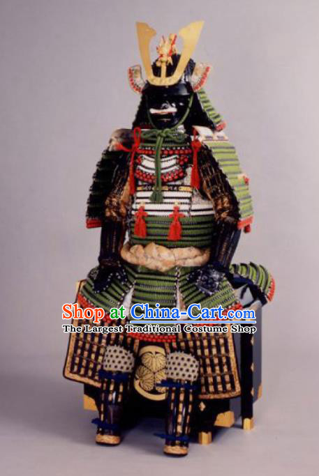 Japanese Traditional General Green Body Armor Outfits Ancient Film Warrior Shogun Armour Costumes and Helmet for Men