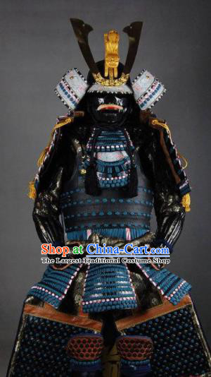 Japanese Traditional General Black Body Armor Outfits Ancient Film Warrior Shogun Armour Costumes and Helmet and Boots Complete Set for Men