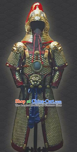 Traditional Chinese Han Dynasty General Golden Body Armor Outfits Ancient Film Military Officer Armour Costumes and Helmet for Men