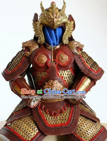 Traditional Chinese Han Dynasty General Leather Body Armor Outfits Ancient Film Military Officer Armour Costumes and Helmet for Men