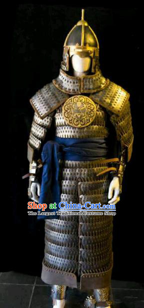 Traditional Chinese Ming Dynasty General Iron Body Armor Outfits Ancient Film Military Officer Armour Costumes and Helmet for Men