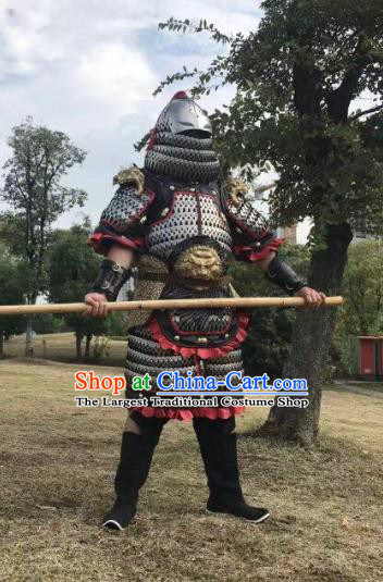 Traditional Chinese Jin Dynasty General Body Armor Outfits Ancient Film Military Officer Iron Armour Costumes and Helmet for Men