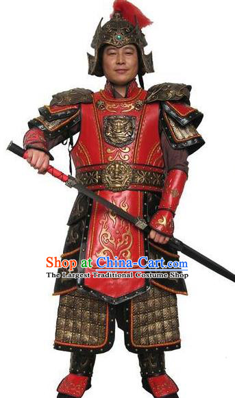 Traditional Chinese Han Dynasty General Red Body Armor Outfits Ancient Film Military Officer Armour Costumes and Helmet for Men