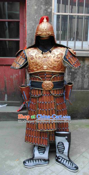 Traditional Chinese Han Dynasty General Body Armor Outfits Ancient Film Military Officer Armour Costumes and Helmet and Boots Full Set