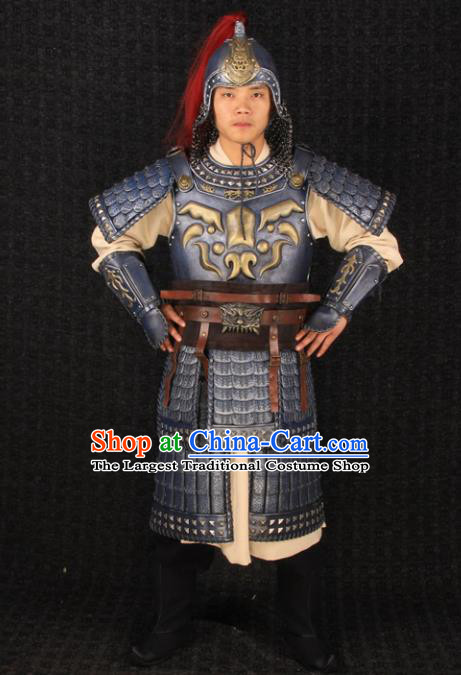 Traditional Chinese Han Dynasty Soldier Body Armor Outfits Ancient Film Military Officer Armour General Costumes and Headwear Full Set