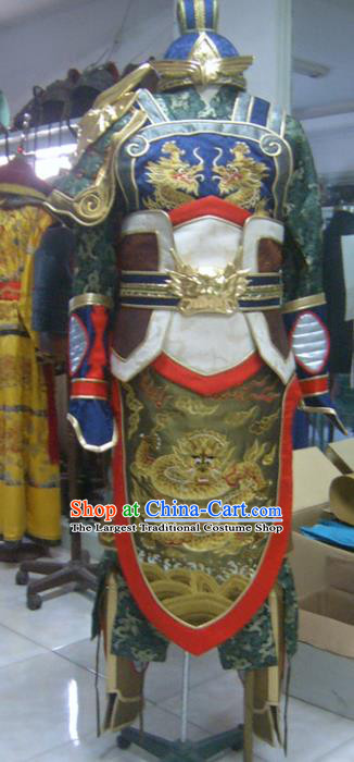 Traditional Chinese Three Kingdoms Period General Guan Yu Body Armor Outfits Ancient Film Military Officer Armour Costumes and Headwear Full Set