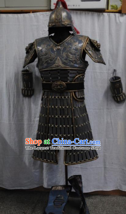 Traditional Chinese Han Dynasty Warrior Body Armor Outfits Ancient Film Soldier Armour Costumes and Headwear Full Set