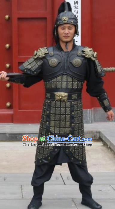 Traditional Chinese Han Dynasty Warrior Body Armor Outfits Ancient Film General Armour Soldier Costumes and Headwear Full Set